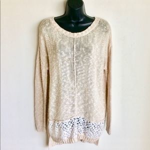 Olivia Sky Sweater Cream White Crochet Insert SzM